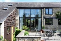 Prescott Hill, Cheltenham 2009 / These French doors formed part of a barn conversion. They are set into glass curtain walling, allowing a clear view from one side of the house through to the other side - handy if looking for a missing cat, dog, child or husband.