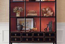 Coral, Persimmon, and Orange Decor / Decor, home decor, orange decor, persimmon decor, coral decor, persimmon library, persimmon cabinet, coral cabinet, orange cabinet