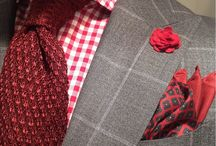 Grey suit red combo