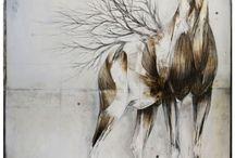 Branched deer / Nunzio Paci Dim: cm 100x80 Tecnique: pencil, oil on canvas Year: 2013