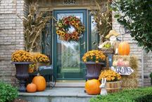 Fall-ish Decorated Front Doors We Love / Autumn is a great time to decorate...we found some that we would love to see on our Therma Tru front doors.