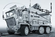 Futurystyczne ciągniki i ciężarówki, maszyny rolnicze i budowlane