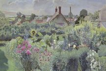 Paintings of cottages and gardens