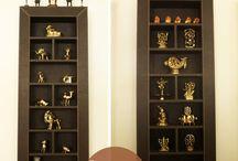 brass on shelves