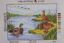 Birds, Swans and Ducks - Oiseaux, Cygnes et Canards / Gobelin, Collection d'Art and Diamant needlepoint canvases
