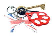 Hound dog leather key rings