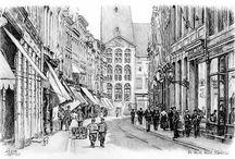 Oud Maastricht / Pentekeningen van foto's begin vorige eeuw.