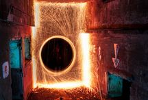 Painting With Light / Long exposure photography using fire and lights.