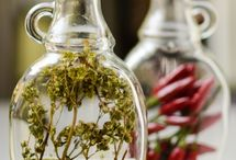 Vinegars, oils, extracts and marinades / Pantry extras for a well stocked kitchen. Flavorings, seasonings, accents to brighten recipes and meals.