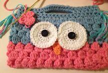Girls owl crochet purse