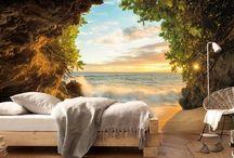 mural pared habitacion arbol mar