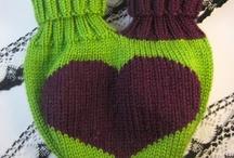 Pletené rukavice pre dvojicu