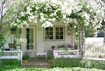 Small houses and yards. / Small living spaces and small flower gardens.