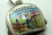 Cow Bells Enamel Charms - Vintage Charms & Bracelets / Vintage Silver & Enamel Travel Souvenir Cow Bells Bracelet Charms