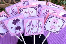 Pink and Purple French Poodle Birthday