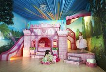 Princess Dreams Luxury Girls Bedroom / Princess Dreams is a luxury princess bedroom and furniture that is handmade by ourselves. Comprising of a bed, stage, fun slide, hidden dressing room and elevated study area with desk.  Each bedroom (furniture and walls and floors) is hand painted by our team of scenic artists.  See more: http://www.masterwishmakers.com/collections/bedrooms/princess-dreams-luxury-childrens-bedroom/
