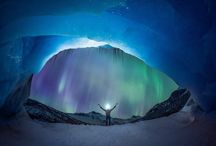 The Northern Lights set a Glacier Aglow / A pair of ice climbers have been snapped in front of a stunning aurora. Mike Stuart and Takeshi Tani were climbing the Athabasca Glacier in Alberta, Canada, when the aurora lit up the nights sky. They were photographed by famed night-time photographer Paul Zizka, who revealed the stillness of the climbers and movement of the lights made for one of the best photography experiences of his life.