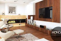 Stylizowany dom z przewagą drewna / To co dominuje w kolejnym projekcie to drewno, pod różną postacią, w zróżnicowanej formie, kolorystyce i gatunku. Dodaje ono wnętrzu przytulności i wyjątkowo ciepłego klimatu. Stosowane na tle innych materiałów nabiera niezwykłego uroku i ze względu na swą oryginalność może być wykorzystywany w niemal każdym stylu i w połączeniu z niemal każdym innym materiałem.  Po więcej inspiracji zapraszamy na naszą stronę: http://monostudio.pl/portfolio_item/stylizowany-dom-jaworzu/ oraz na Facebooka
