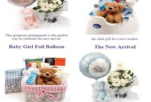 New Baby Present Ideas / Here we have our range of gifts to send to someone that has just had a New Born Baby. Sometimes it is hard to know what to send the parents after the birth of the child. We have some items that include a balloon and others come with a teddy bear (Do you remember your favorite teddy!?) - we hope this helps!!