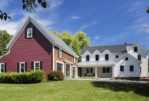 Lynnfield Farmhouse / This stunning farmhouse renovation and addition uses reclaimed floors and exposed beams, pine flooring, a huge wood kitchen island and custom cabinetry cabinetry. The home has a beautiful rustic and historic look to it, while still maintaining an open space, modern feel.