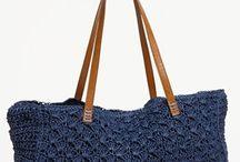 Horgolt kék táska