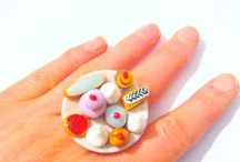 Jewelry, Ring, Adjustable, Jewelry, jewel, ring, polymer clay, miniature, cakes, pastry, indulge, funny jewelry, pastel colors, saucisseintrinseque, saucisse, cooking