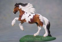 Tiny / Large Stablemate scale frolicking draft horse gelding sculpted by Sarah Rose www.rosehorse.com   Painted by various artists