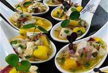 Ceviche de langostinos con mango