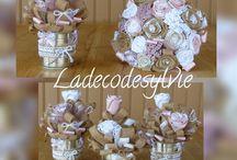 Décoration de table assortie au Bouquet de Mariée / Décoration de Table réalisée avec des boites de conserves assorties au Bouquet de la Mariée