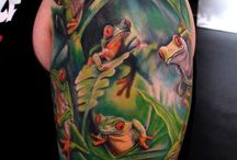 Frog Frosk Rana Floral Tattoo