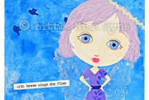 Mixed Media Original Canvas Art by Little Miss Tyne / These are some of my mixed-media original canvases, featuring a hand-drawn and painted Little Miss Tyne girl that has been lovingly given her very own window to the world. Each is unique and speaks from her own perspective on life. I hope you find one or more that speaks to you.