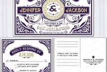 Art Deco wedding in purple and gold / Art Deco wedding theme letterpress purple and gold wedding invitations