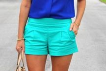 Blouse blue and short green