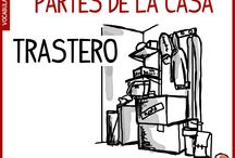 Partes de la casa en español / Vocabulario intermedio español, partes de la casa, nombre de las habitaciones de la casa en español