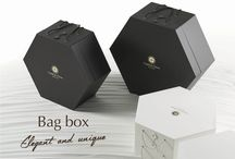 BAGS BOX / ..every bag is preserved inside of an elegant package which reminds of an old hat box.