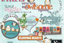 The Fam Digital Scrapbooking Collection by Kathryn Estry / hese bright colors work perfectly with these cute owls and pretty elements, papers, and extra packs. The Fam is for everything family.  Included are families of owls with 3, 4, and 5 owls as well as individual owls for you to create families of any size.