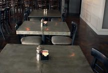 Zinc Tables for Restaurant or Home / Our zinc tables are handmade in our warehouse. Seamless tops with a beeswax coating to help the patina process. All tables are custom made. Please call for pricing. 844-678-5705 Toll Free. 854-659-0809 Local. Beautiful modern contemporary meets vintage farmhouse table style. Perfect for a patio space, indoor/outdoor restaurants.