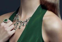 emerald green dress and accesorizes