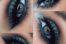 turquoise, white , silver make up