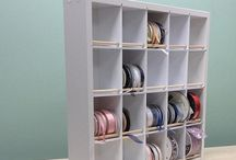 Ribbon Organizers / Removing a Ribbon Spool is as easy as removing a book from a bookshelf! It's easy to keep like colors arranged together and great for Sewing Rooms too!