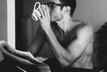 men reading / Hot men reading books