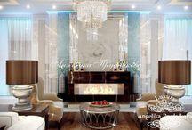 Дизайн интерьера загородного дома в стиле арт-деко в Барвихе / В проекте дизайна  загородного дома в Барвихе несколько помещений. В гостиной стоят два дивана, напротив мягкой мебели на столе располагается телевизор. В пару метрах находится лестница на второй этаж. Возле лестницы расположена столовая зона. Интерьер дома выполнен в стиле ар-деко. Основная цветовая гамма: белый, бежевый и коричневый.