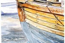 watercolours Boats and Oceans
