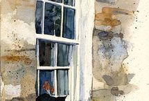 en pierre maison aquarelle