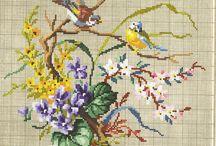 вышивка - птицы винтаж