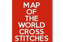 map of the world cross stitches