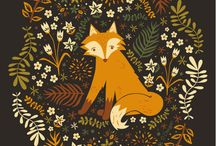 Illustrations and art with cats and animals / illustrations with animals; cats, hedgehogs, foxes