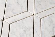 Marble Diamond Waterjet Mosaic Tile from AllMarbleTiles.com / Bianco Carrara, Dark Emperador, Crema Marfil, Thassos White, Timber White Marble and Honey Onyx Diamond Waterjet Mosaics from http://AllMarbleTiles.com