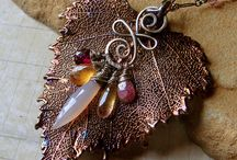 Copper leaf / Pendant with decorations on top of leaf