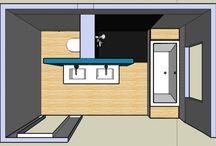 Badkamer / Ideeën voor de badkamer, en plattegronden.